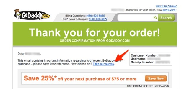 godaddy post-purchase email survey