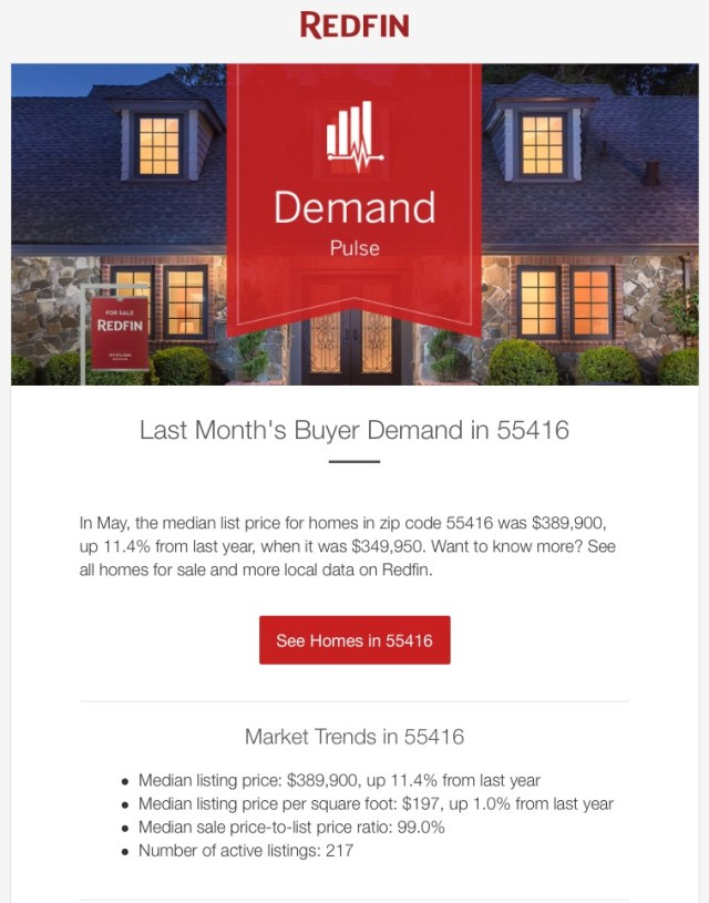 redfin triggered email