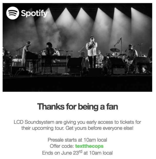 spotify lcd soundsystem early access email offer