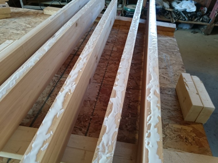 All the boards with one side glued.