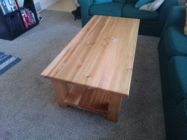 Different angle of finished table.
