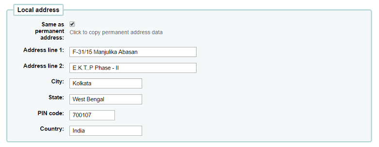 Managing patrons with same permanent & local address
