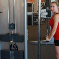 Allysa doing Triceps cable drop sets at LA fitness (2)