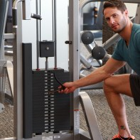 James-adjusting-weight-before-performing-tricep-puch-down-drop-set-at-LA-Fitness-2