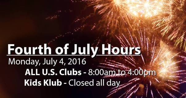 LA Fitness 4th of July Holiday hours for 2016