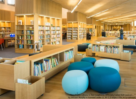 multicultural library with ethnically diverse books
