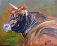 Red Bull in Oils by Sue Steiner