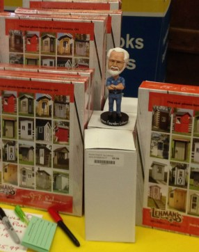 A Jay Lehman bobblehead pops up at the puzzle display...