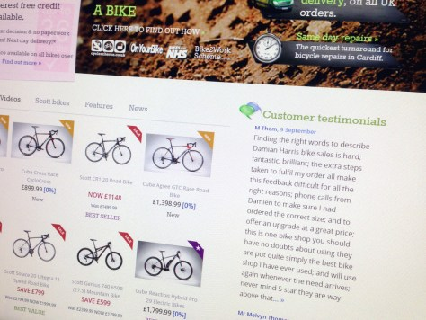 Screenshot of customer testimonials for Damian Harris Cycles