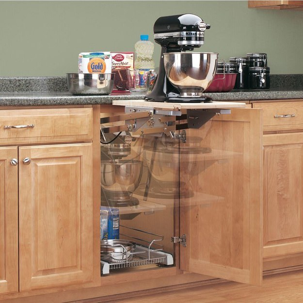 custom made lift out mixer on shelf in kitchen cabinet kitchen cupboard space savers