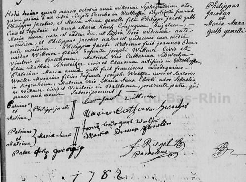 Acte de naissance de Philippe Guth à Westhoffen en 1781