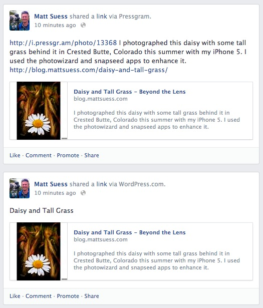 The top post on Facebook was from Pressgram while the bottom was posted direct from WordPress.