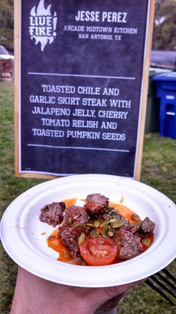 Toasted Chile and Garlic Skirt Steak with Jalapeno Jelly, Cherry Tomato Relish and Toasted Pumpkin Seeds from Arcade Midtown Kitchen