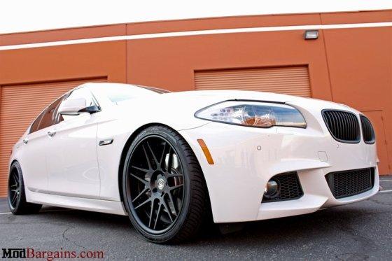 White BMW F10 550i Matte Black Wheels