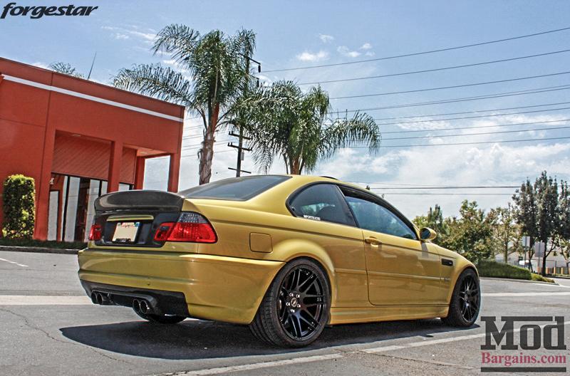BMW E46 M3 Dakar Yellow Forgestar F14 Matte Black 19x9 19x10 (4)