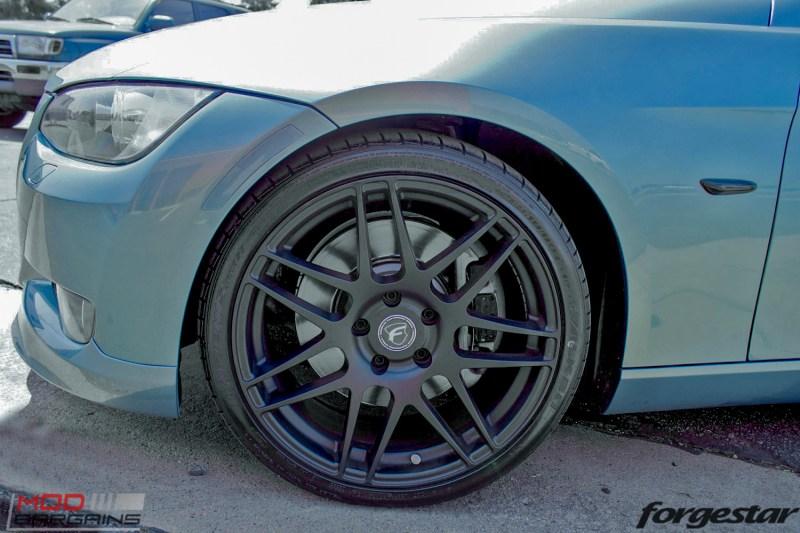 BMW E92 335i Atlantis Blue Forgestar F14 Matte Black 19-2-2