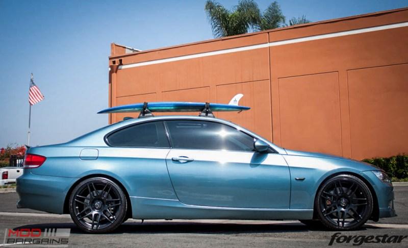 BMW E92 335i Atlantis Blue Forgestar F14 Matte Black 19-5