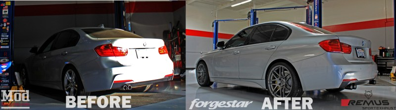 BMW_F30_328i_Msport_Forgestar_F14_GM_BMWBBK_REMUS_Black_Before-After