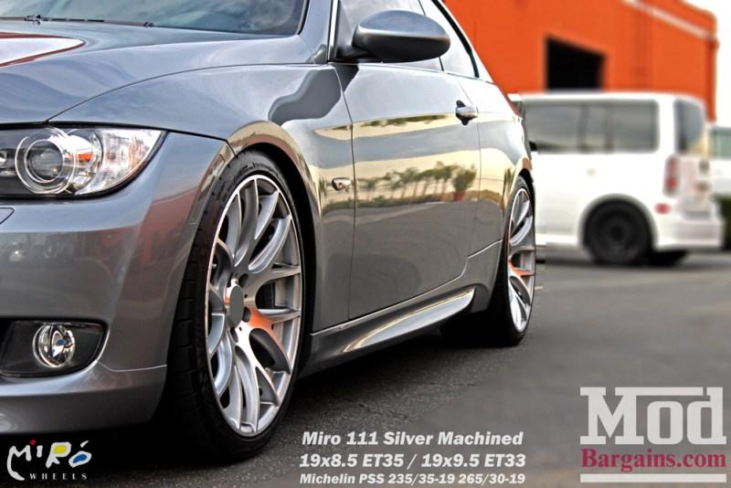 BMW_E92_328i_Gray_CF_Performance_Diffuser_BilsteinShocks_Miro_111_wheels_silver_19x85et35_19x95et33_HRSprings_img016