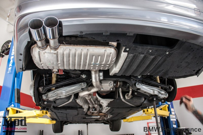 Gray BMW E90 328i Under-body  Exhaust
