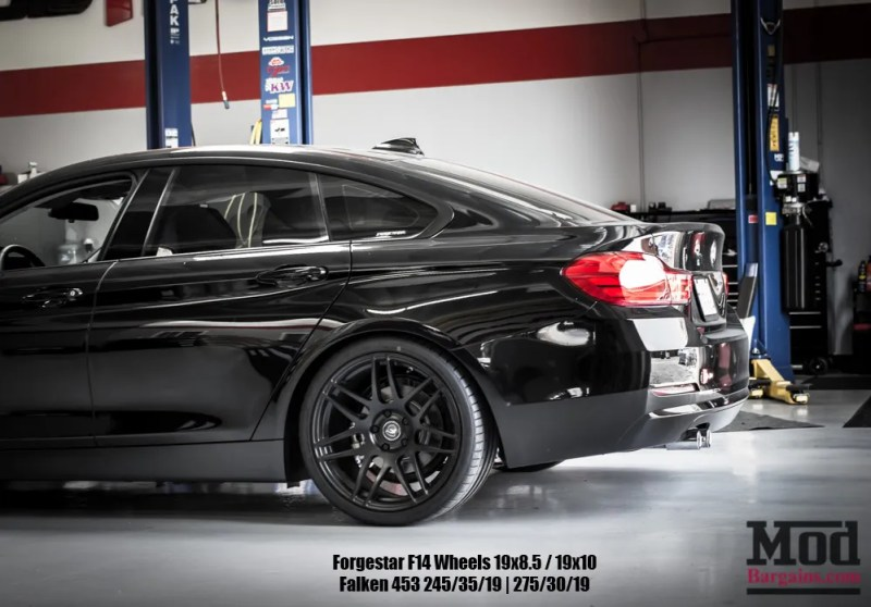 Black BMW F36 428i GranCoupe Forgestar F14s