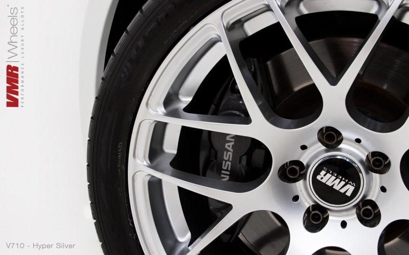 "VMR Wheels | 19"" Hyper Silver 5x114 V710 on Pearl White Nissan 370Z"