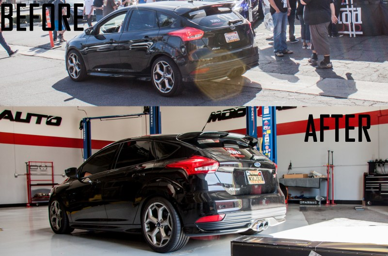 Ford_Focus_ST_2015_Injen_ST_Coilovers beforeafter