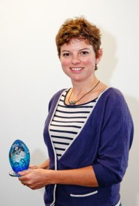 Image of Emily Howgate INPLF with trophy at 2013 Sustainable Seafood Awards
