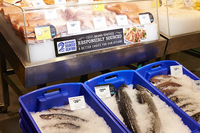 Sustainable fish counter in Coles