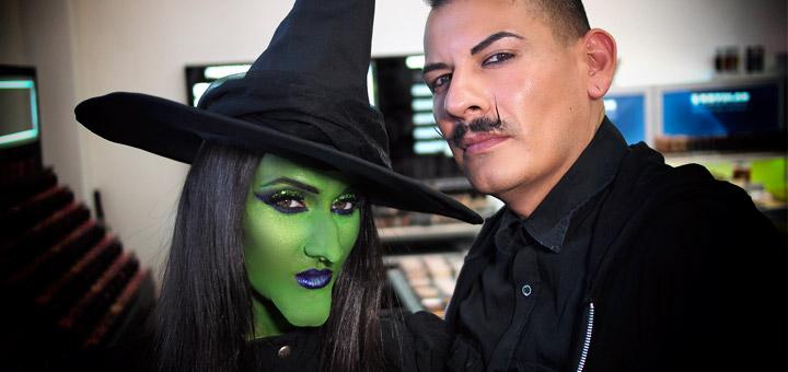 green witch halloween makeup