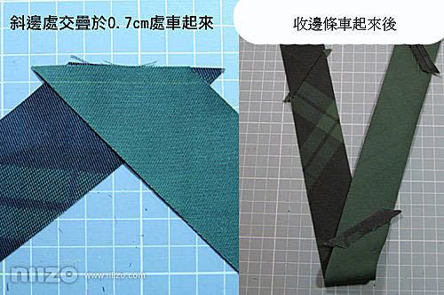 5.製作收邊條。一般使用布料都是直的剪,要作收邊條則是要45度角斜切布才行,因為斜切布才有彈性,用來收邊才會漂亮。將斜切布條剪成4cm寬,再一一接合起來,然後使用熨斗將布燙平,剪下接合處多餘的布。