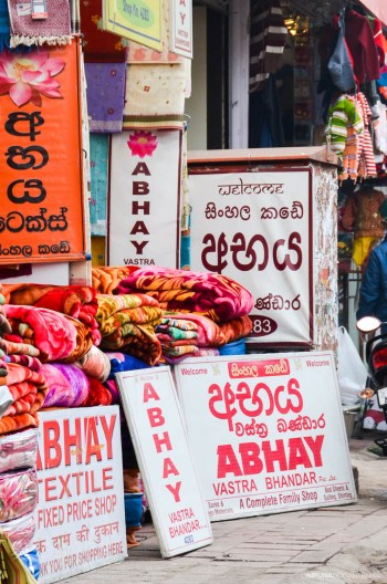 Indian vendors having Sinhalese name boards to attract Sri Lankan pilgrims and other tourists.