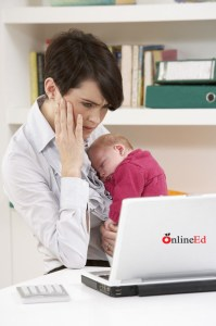 stressed woman with child