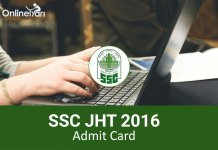 SSC Junior Hindi Translator Admit Card 2016