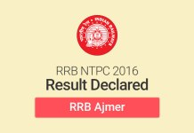 RRB NTPC Result 2016 for Ajmer: Check Merit List