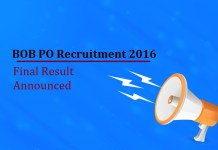 Bank of Baroda PO Final Result 2016 Announced