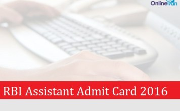 RBI Assistant Admit Card 2016: Download Prelims Exam Call Letter