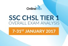 SSC CHSL Tier 1 Overall Exam Analysis: 7-31st January 2017