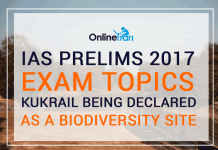 IAS Prelims 2017 Exam Topics: Kukrail being declared as a Biodiversity site