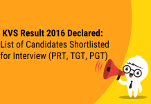KVS Result 2016-17 Declared: List of Candidates Shortlisted for Interview (PRT, TGT, PGT)
