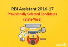 RBI Assistant 2016 Provisionally Selected Candidates (State-Wise)
