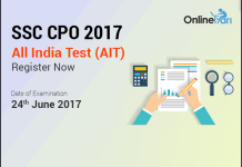 SSC CPO 2017 All India Test (AIT) | 24 June 2017: Register Now