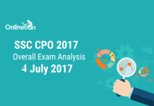 SSC CPO 2017 Exam Analysis, Overall Paper Review: 4th July 2017