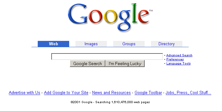 Googles alte Homepage