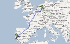 Map tracing my relocation from Setúbal, Portugal to Düsseldorf, Germany