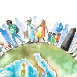 Illustration of people different nationalities going on a Earth.Picture created with watercolors