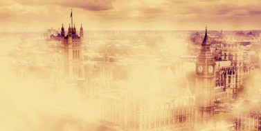 Big Ben, the Palace of Westminster in deep morning fog. London, the UK. Panorama