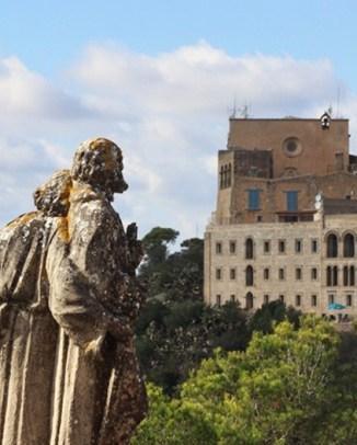Santuari de Sant Salvador Ausblick auf 420 Metern Höhe über Mallorca Ostküste