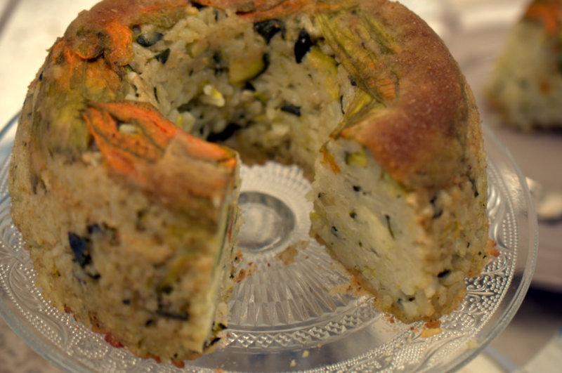 sformato di zucchine con fiori di zucca 002