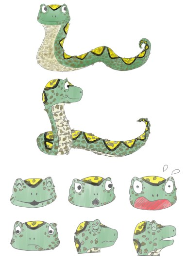 Adam the Snake sketches - Skin Awareness